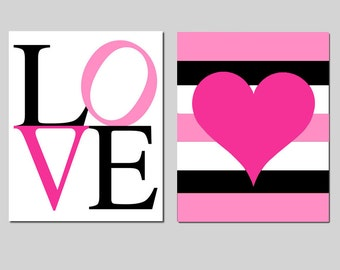 Heart Love Duo - Set of Two 8x10 Prints - Chevron or Stripe - Kids Wall Art - Choose Your Colors - As Seen On Netflix - DEAR WHITE PEOPLE