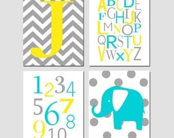 Modern Nursery Art Decor - Set of Four 8x10 Prints - Chevron Monogram, Modern Alphabet, Numbers, Polka Dot Elephant - CHOOSE YOUR COLORS