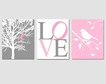 Modern Bird LOVE Trio - Set of Three 8x10 Prints - Nursery Wall Art - CHOOSE Your COLORS - Shown in Gray, Pink, and More