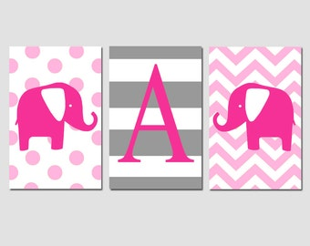 Nursery Art Trio - Set of Three 11x17 Prints - Striped Initial - Chevron and Polka Dot Elephants - CHOOSE YOUR COLORS