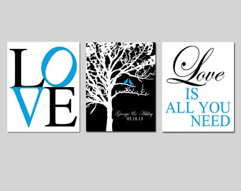 Family Love - Set of Three 8x10 Prints - Love Typography, Lovebird Wedding Tree, Love Is All You Need - Wall Decor - GREAT WEDDING GIFT