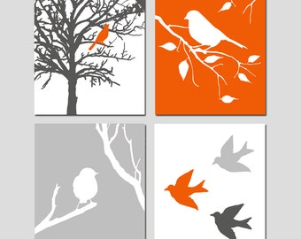 Modern Bird Quad - Set of Four 11x14 Prints - Kids Wall Art For Nursery - Choose Your Colors - Shown in Red Orange, Gunmetal, Pale Gray