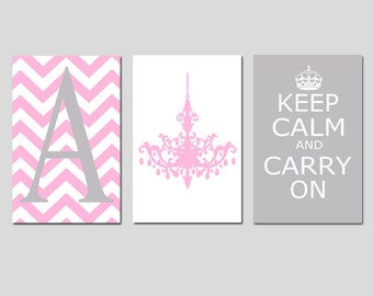Girl Wall Art - Keep Calm and Carry On, Chevron Monogram Initial, Chandelier Trio - Set of Three 13x19 Prints - Teen - Choose Your Colors