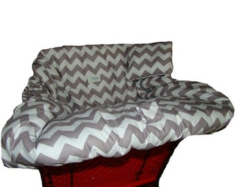 Shopping Cart Cover for baby or toddler girl or boy  - Restaurant High Chair Cover - Padded Grocery Cart Cover - Grey and White Chevron