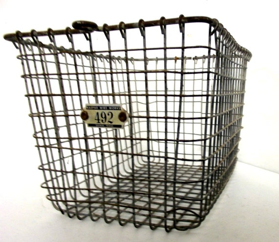 Wire Gym Basket or Swimming Pool Locker Basket No. 492.... utlimate in trendy Flea market style vintage organizing.