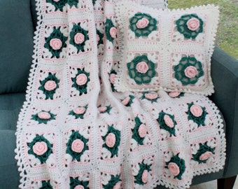 Pearly Blossoms Afghan and Pillow Crochet Pattern PDF