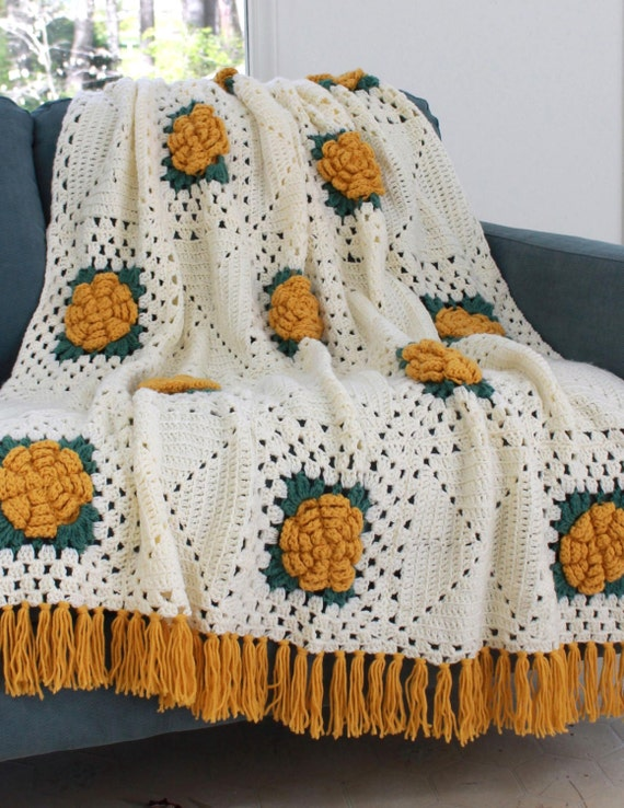 Crochet Pattern Rose Trellis Afghan : Fashion Rose Afghan Crochet Pattern PDF