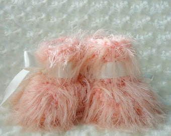 Crochet Slippers Baby Shoes Pink Baby Girl Booties Perfect Baby Shower Gift