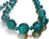Vintage Peacock Blue Green Glass Necklace / Choker