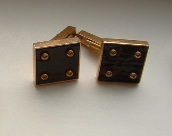 Vintage Swank Cuff Links with Studded Leather
