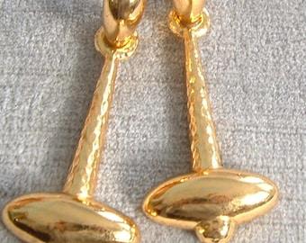 Vintage Signed TRIFARI Gold Earrings, Long Modernist Dangle Clips