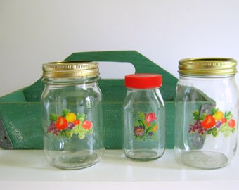 Vintage Pantry Storage Jars Retro Kitchen Kerr Jars with Decals 1950's