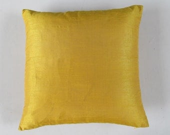 mustard yellow pillow. art silk yellow custom  cover 18  cushion  made on  20 % off
