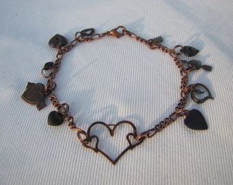 Antique Copper Hearts Handmade Charm Bracelet