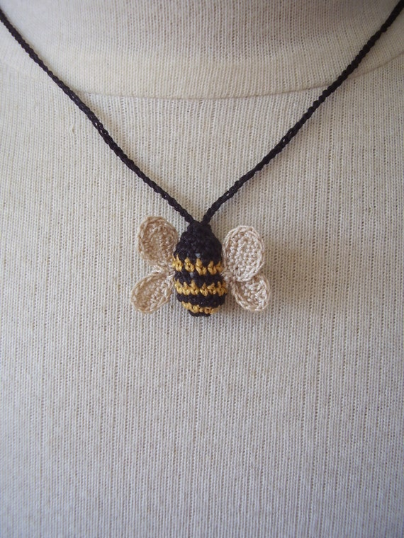 Crocheted Bee Necklace