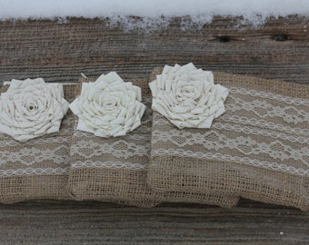 3 Burlap and Lace Wedding Clutches - Bridesmaid Clutch - Bridal Party - You Choose The Color Flower and Lining
