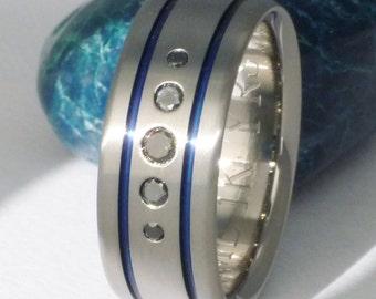 Black Diamond Titanium Wedding Band - Two Blue Stripes - Black and Blue Ring - bd16