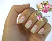 Shabby Very Chic Pale Pink and White Vintage Floral Spray Nail Art Waterslide Miniature Water Decals - fw-042
