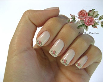 Shabby Very Chic Colorful Two Vintage Rose Floral Spray Nail Art Waterslide Miniature Water Decals - fw-044