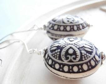 Nautical Earrings - Blue Silver and White - Nautical Mile
