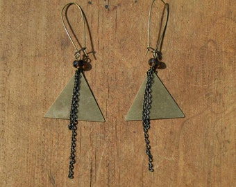 Brass Geometric Triangle Earrings