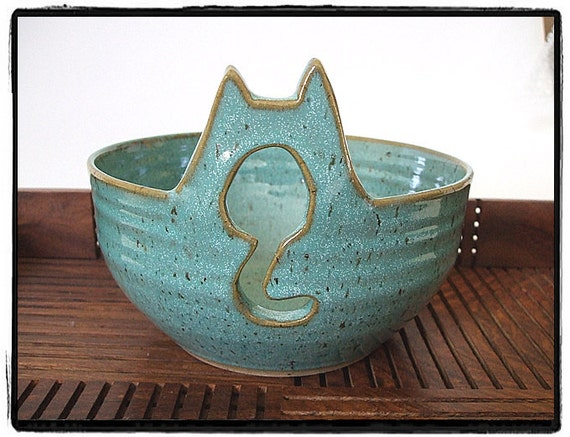 Yarn Bowl with Cute Cat in Turquoise by misunrie