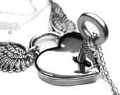 Love Heart Padlock and Key Necklace Set, Angel Wing Lock Necklace, Couples Silver Skeleton Key Boyfriend Girlfriend Necklaces NOW ENGRAVED