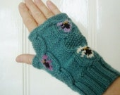 Cable and Violets 4ply wool/cashmere fingerless gloves/mitts