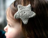Little Star Hair Clip - Hand Knit - Organic Merino Wool - Baby Hair Accessory