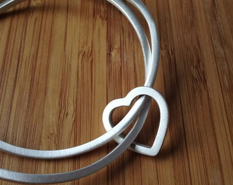 Modern Love Bangle Set With Heart Ring