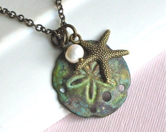 Sand Dollar Necklace -  Starfish, Patina, Pearl,  Brass, Ocean Jewelry, Beach Jewelry