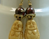 Vintage Carved Bone Buddha Bead Earrings, Vintage Brecciated Red Jasper Beads