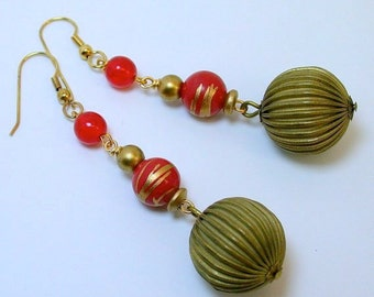 Vintage Japanese Lucite Red Gold Splatter Bead Dangle Drop Earrings , Vintage Raw Brass Bead , German Glass Beads