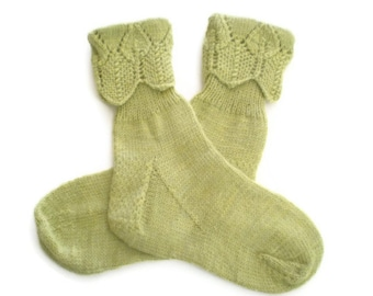 Socks - Hand Knit Women's Green Tea Socks with Lace Cuff - Size 5-6