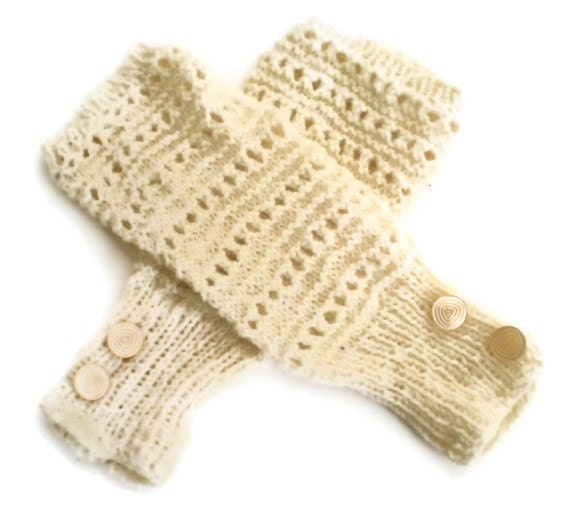 Fingerless Mittens - Ivory with Vintage Button Trim