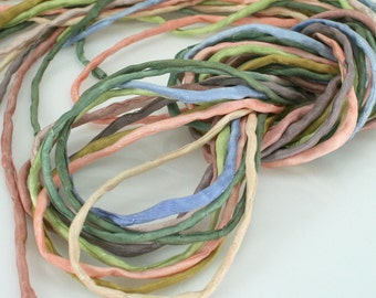 10 ea Silk Strings for Jewelry Making 2mm Silk Cord Desert Sky Hand Dyed Soft Colors