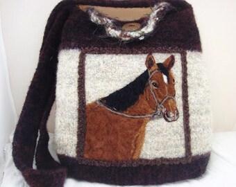 Felted Tote, Felted Purse, Felted Handbag,Bay Horse