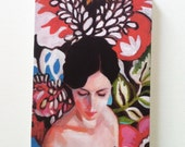 Rimma  / Tiny canvas print  -  canvas art print -  Flowers -Portrait painting -Print of Original acrylic painting- wall hanging