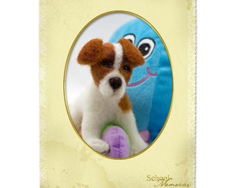 Needle Felted Dog Jack Russell Terrier Wool Sculpture