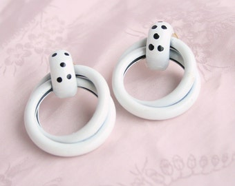 Rockabilly White Black Earrings Polka Dot Retro Vintage Pierced Door Knocker Double Hoops