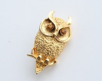 Gold Owl Brooch Vintage Topaz Rhinestone Small Bird Horned Owl Figural Pin