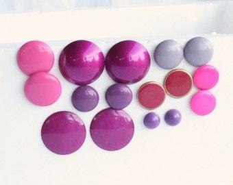 Pink Button Earrings Lot 1980s Vintage Pinks Purples 8 Pairs Retro Destash Lot
