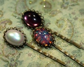 Vintage Jewel Trio Fire Opal Pearl Purple Glass Cabochon Heirloom Weddings Brides Bridesmaids Gifts