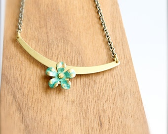 SALE - Turquoise Green Flower Pendant Necklace Verdigris Patina Riveted Floral Boho Jewellery