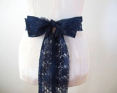 Navy Blue Lace Sash Bridal Belt Bridesmaid Sashes by ccdoodle on etsy - made to order