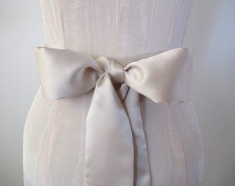 Champagne Light Taupe Matte Satin Sash Bow Belt Wedding Sash Bridal Sash - by ccdoodle on etsy - made to order