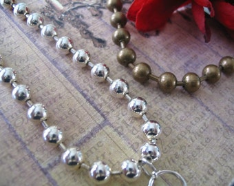 1pc.. 6mm High Quality Ball Chains...Mix and Match...Silver and Antique Brass...BC6
