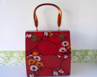 Vintage Red Purse Wooden Box Purse Top Handle Bag 1970s Hippie Bohemian Red Patchwork Fabric