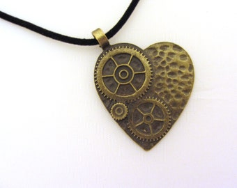 MY STEAMPUNKED HEART Necklace, Large Bronze Clockwork Pendant with Black Velvet Cord