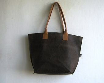 Dark Brown Vegan Leather Tote with Cognac / Camel Real Leather Straps